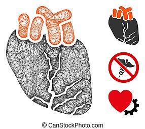 Heart Cancer Polygonal Web Vector Mesh Illustration