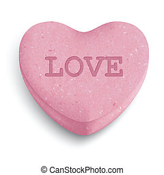 Heart candy - Pink sugar heart candy with love word