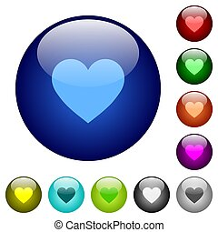 Heart card symbol color glass buttons