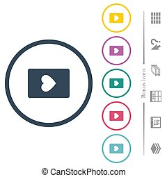 Heart card symbol flat color icons in round outlines