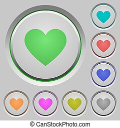 Heart card symbol push buttons