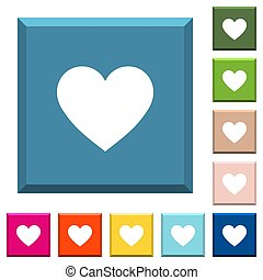 Heart card symbol white icons on edged square buttons