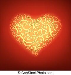 heart., card., valentine, powitanie, wektor, tło, dzień, czerwony