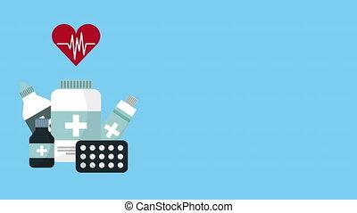 heart cardio and medicines animation - heart cardio and...
