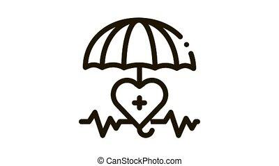 heart cardio and umbrella Icon Animation. black heart cardio and umbrella animated icon on white background