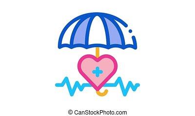 heart cardio and umbrella Icon Animation. color heart cardio and umbrella animated icon on white background