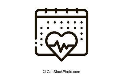 heart cardio calendar Icon Animation. black heart cardio calendar animated icon on white background