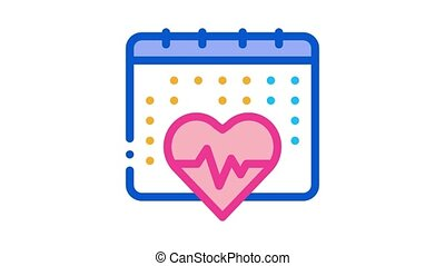 heart cardio calendar Icon Animation. color heart cardio calendar animated icon on white background
