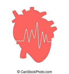 heart cardio organ with heartbeat line