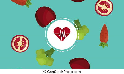heart cardio with healthy food ,4k video animation