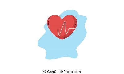 heart cardio with pulse animation