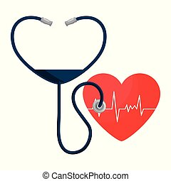 heart cardio with stethoscope