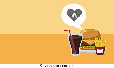 heart cardio with unhealthy food ,4k video animation