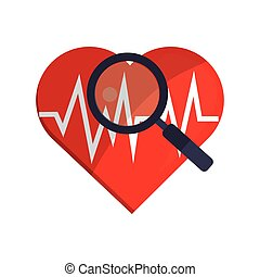 heart cardiogram and magnifying glass icon