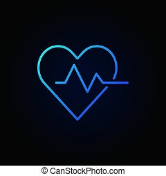 Heart cardiogram blue icon - vector heartbeat sign