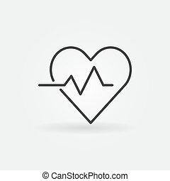 Heart cardiogram concept icon - vector heartbeat sign