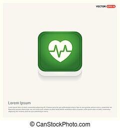 Heart cardiogram icon Green Web Button