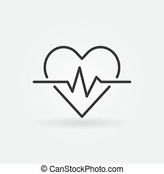 Heart cardiogram outline icon - vector heartbeat concept sign