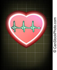 Heart cardiogram with shadow. EPS 8