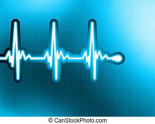 Heart cardiogram with shadow on deep blue. EPS 8