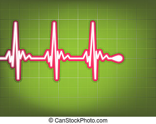 Heart cardiogram with shadow on green. EPS 8