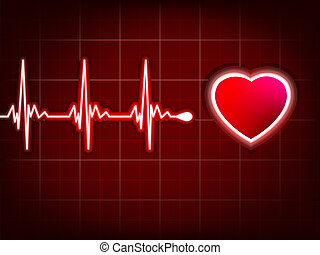 Heart cardiogram with shadow on it deep red. EPS 8 vector...