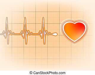 Heart cardiogram with shadow on orange. EPS 8