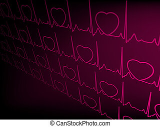 Heart cardiogram with shadow on purple. EPS 8