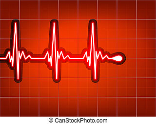 Heart cardiogram with shadow on red. EPS 8
