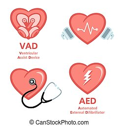 Heart care symbols - Artificial heart, defibrillator and...