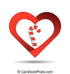 heart cartoon candy cane sweet icon design
