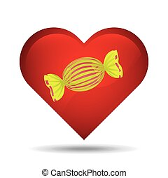 heart cartoon candy yellow sweet icon design