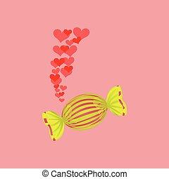 heart cartoon candy yellow sweet icon design