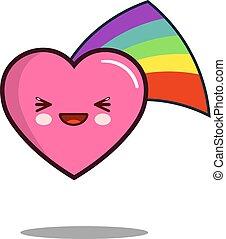 heart cartoon character icon kawaii with rainbow Flat design Vector