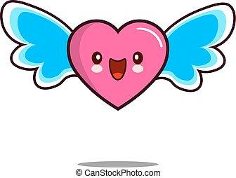 heart cartoon character icon kawaii with wings Flat design Vector