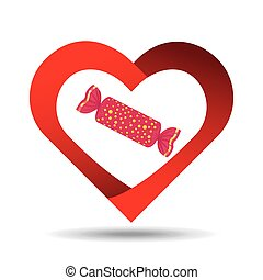 heart cartoon red candy sweet icon design