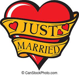 (heart), casado, diseño, sólo