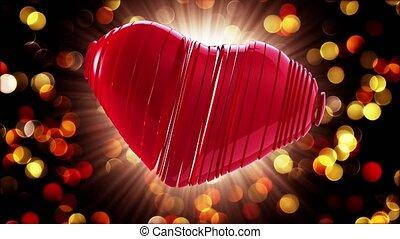 heart., centre, valentine, day., vidéo, salutations, rouges, heureux