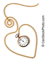 Heart path made with a gold chain and a pocket watch inside showing a few minutes to midnight, isolated on white background. Concept of permanence of love over time, the past or deadline.