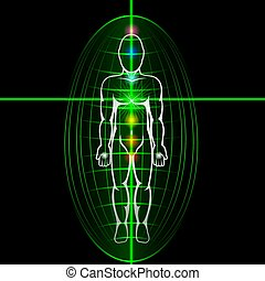 Heart chakra activation concept. Man with shining aura.