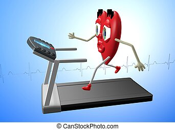 Heart character on treadmill