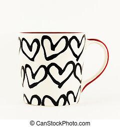 heart charakter, osamocený, grafické pozadí., džbánek, neposkvrněný