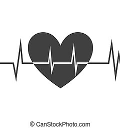 Heart icon with ekg line, Vector design