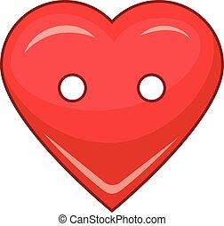 Heart cloth button icon, cartoon style