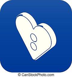 Heart clothes button icon blue vector