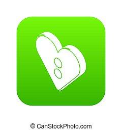 Heart clothes button icon green