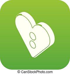 Heart clothes button icon green vector