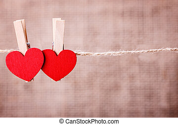 heart clothespin rope a symbol of Valentine's Day