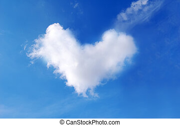 Heart cloud in blue sky.