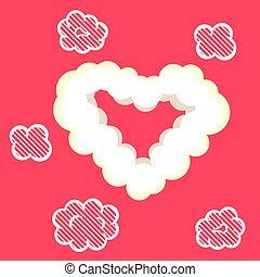 Heart cloud valentine card template.
